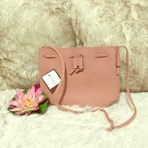 Macy's bucket purse pink cross shoulder strap, New
